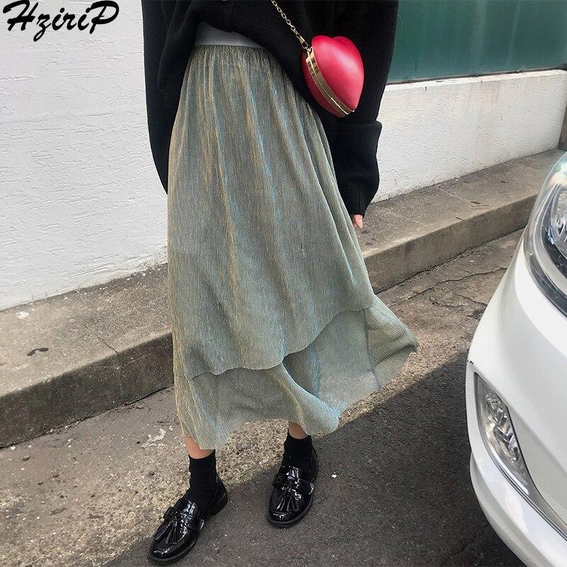 HziriP Long Skirts Womens 2018 New Autumn Winter Irregular Cake Wild Elastic Fashion Slim High Waist Solid Elegant Femme