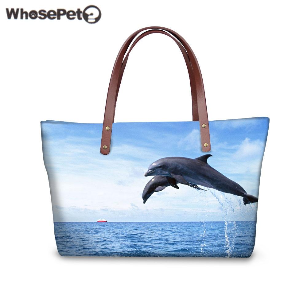 Whosepet женские сумки сумка dophin Акула печати сумка Дамы Топ-ручка сумки большой тотализатор Bolsa для покупок женский