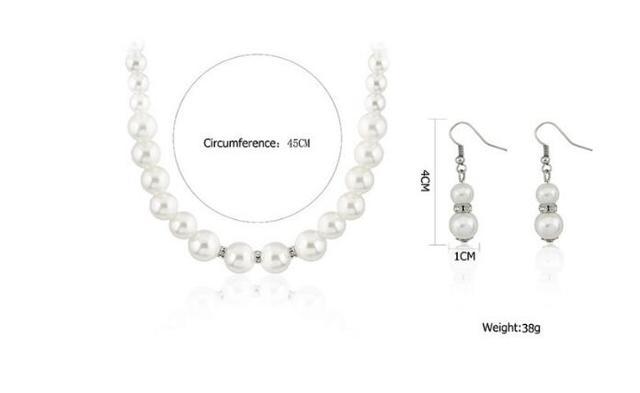 Moda clásica imitación perla enchapado en plata cristal transparente Top elegante regalo de fiesta moda disfraz conjuntos de joyas de perlas N85 3