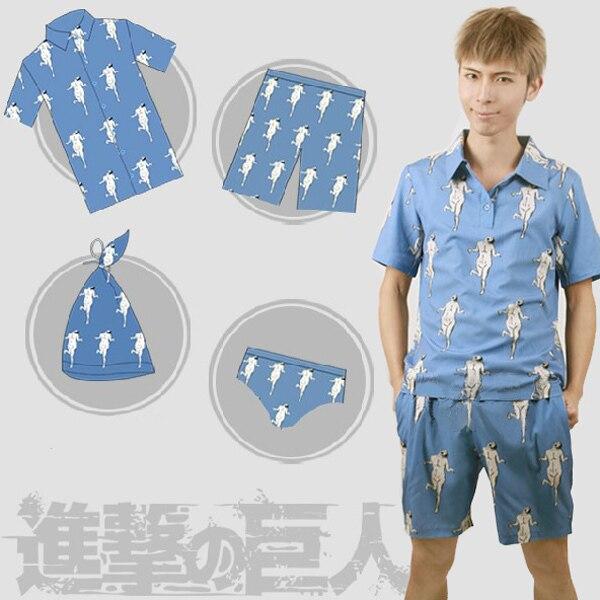 2015 Attack on Titan Levi Pajama Sets night-robe nightcap Cartoon pajamas clothing pants underwear