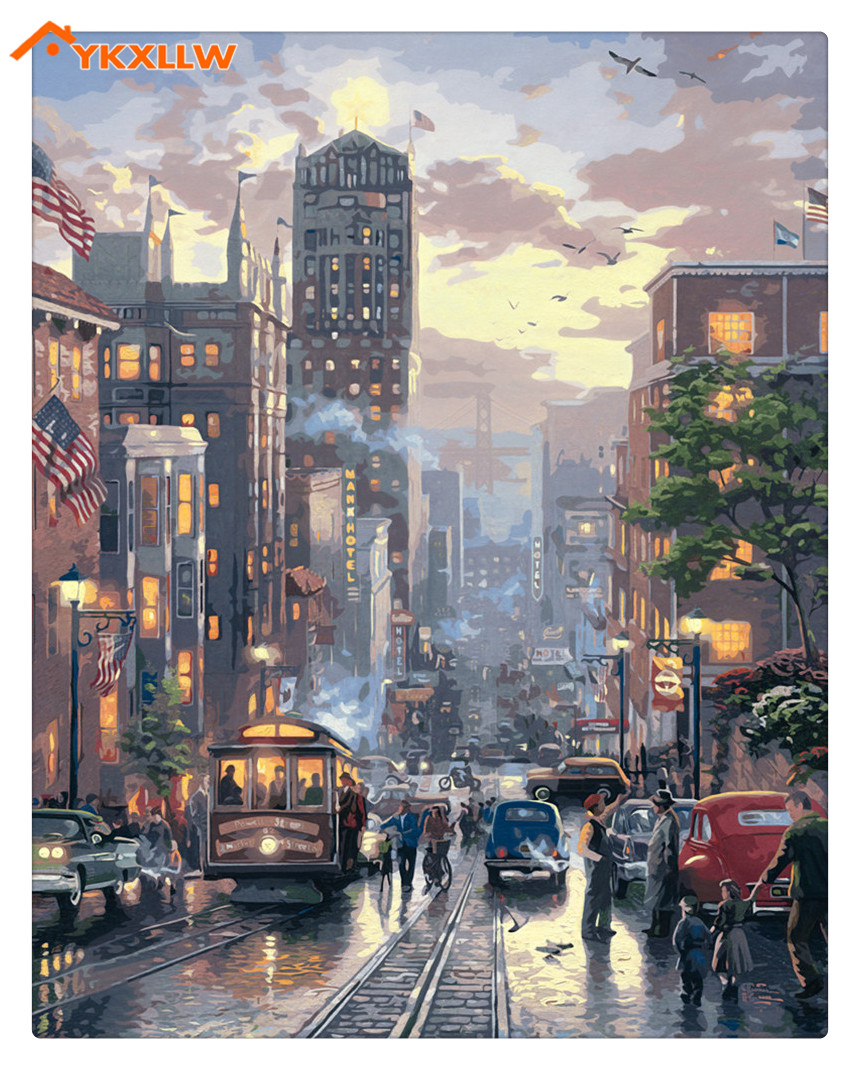 New york street paintings by hand a busy day no frame home decoration oil painting pictures by numbers landscape wall art decor