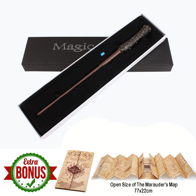Harry Series LED Light UP Magic Wand With The Marauder's Map Toys For Children Boys Christmas Gifts