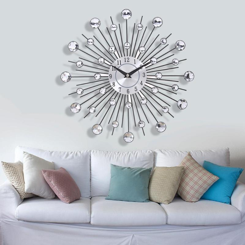 Wall-Clock Crystal Sunburst Home-Decoration Living-Room Diamond Large Vintage Modern-Design title=