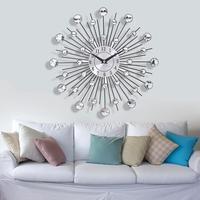 33cm Vintage Metal Crystal Sunburst Wall Clock Luxury Diamond Large Modern Design Wall Clock Home Decoration Living Room Wall