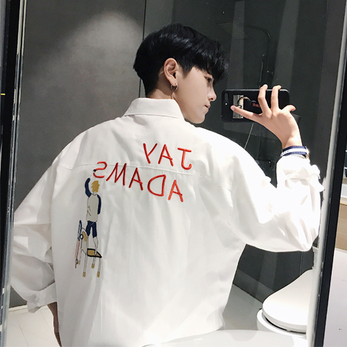 2018 Spring Hong Students Loose Wild Trend Long-sleeved Cotton Shirt Overalls Youth Fashion Classic Mens Alphabet Pattern Small