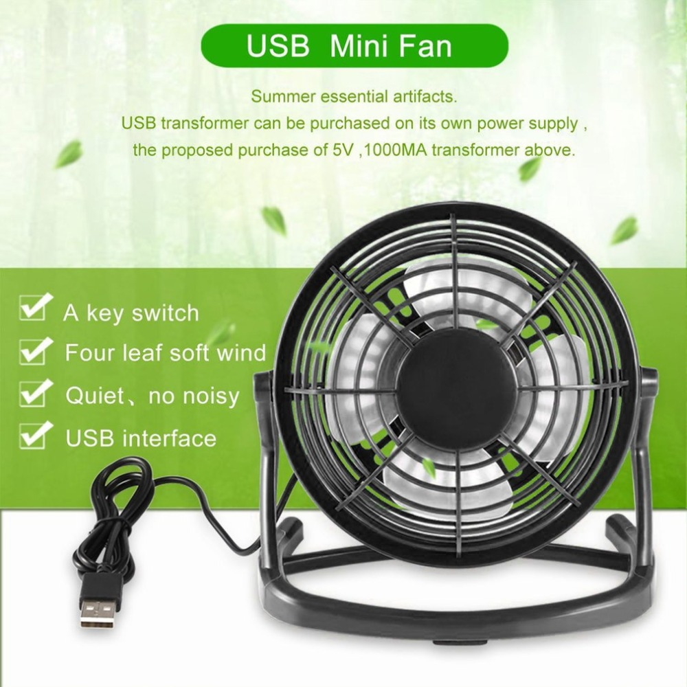 цена на Portable DC 5V Small Desk USB 4 Blades Cooler Cooling Fan USB Mini Fans Operation Super Mute Silent PC / Laptop / Notebook