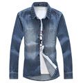Японский стиль Мужские джинсовые рубашки с длинным рукавом Большой размер 6xl 5xl 4xl 3xl Полосатый Синий и белый 2016 Осень-Весна