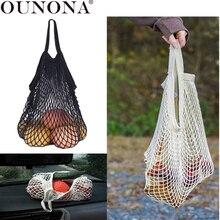 OUNONA Mesh Shopping Bag Fruit Mesh Storage Bag Mesh Woven Net Bag Portable Handbag Net Tote bag Random Color
