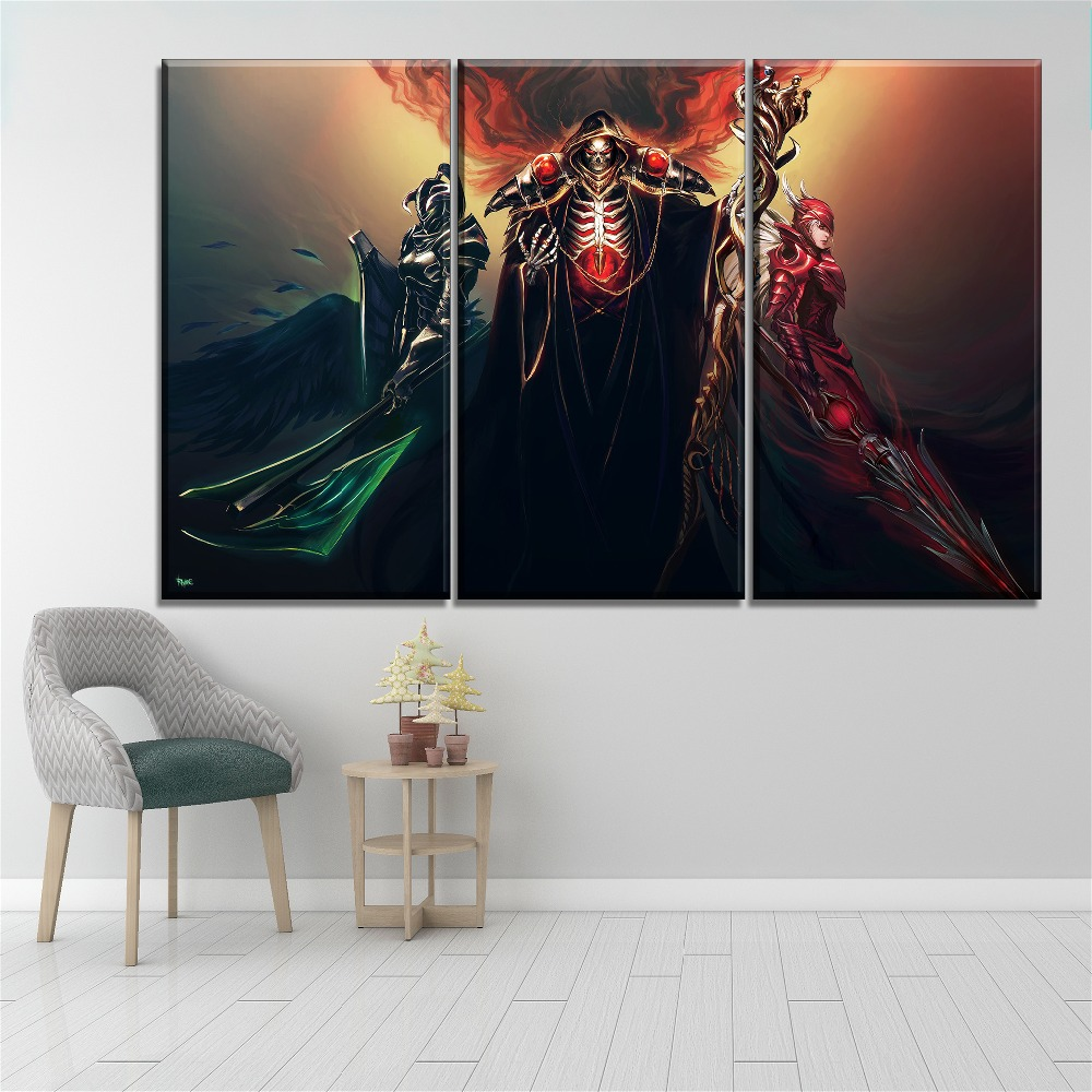 Wall Decorative Unique Ainz Ooal Gown And Demon Vampire Poster 3 Pieces Anime Overlord Canvas HD Print Modular Artwork Painting