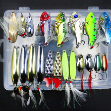 20Pcs/Box Metal Fishing Lures Set Spoon VIB Lure with Feather Artificial Lure Fishing Bait in Plastic Box Fishing Accessories
