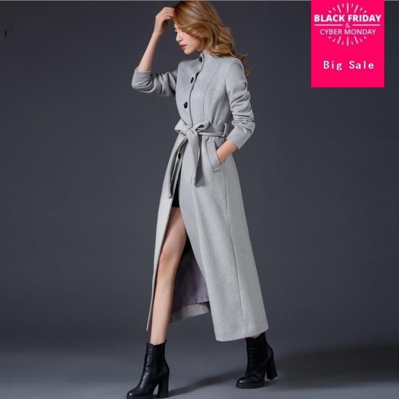 breasted Mode Manteau Gris 2018 Épaissir Grey Laine Col Longue De Femmes Single L1425 Pardessus Veste Hiver Debout Chaud Slim YwEwZ