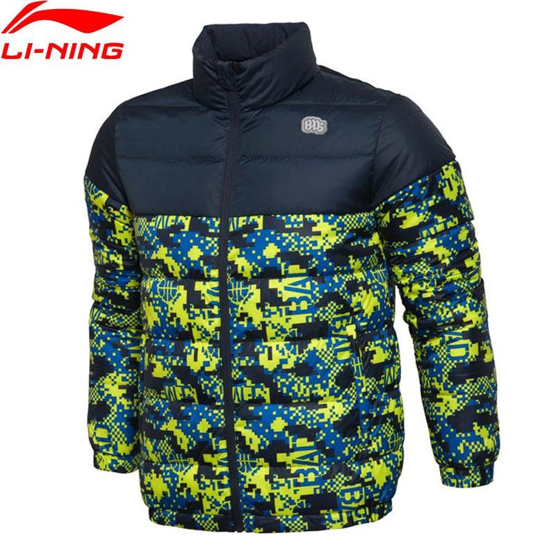Li-Ning Men BAD FIVE Basketball Series Short Down Jackets Slim Fit 90% Down LiNing Sport Coats AYML005 MWY274 lee men s modern series slim fit tapered leg jean