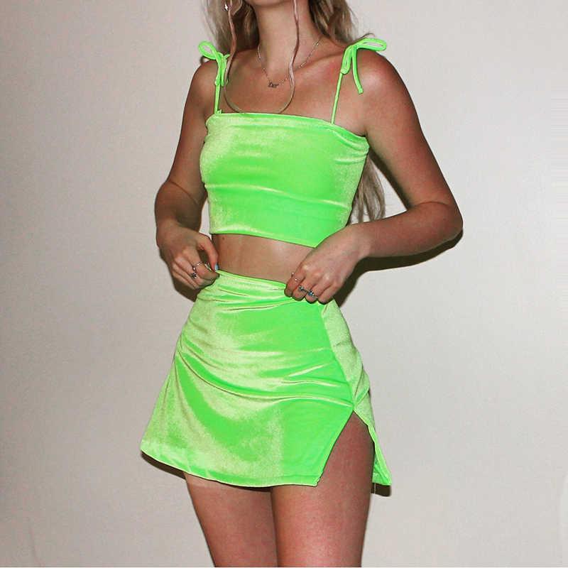 InstaHot crop top z aksamitu spódnice 2 sztuka zestaw kobiety 2019 lato Spaghetti pasek zakrętka tubki mini spódniczka z rozporkiem moda zestawy damskie Sexy