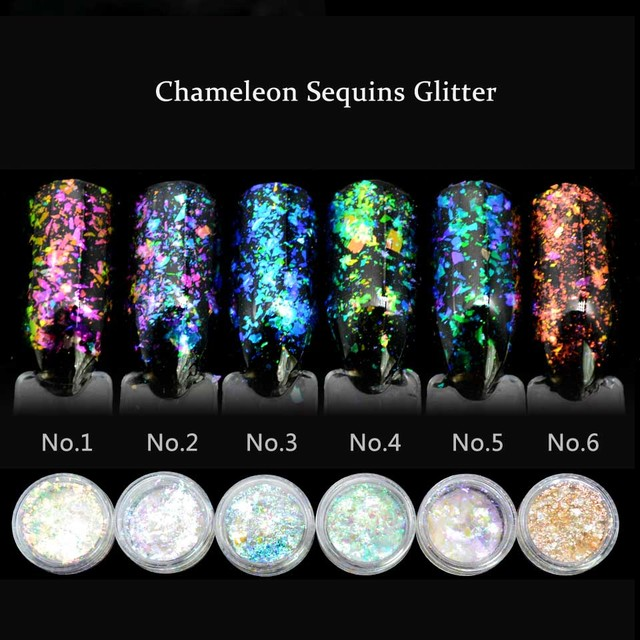 1 Box Aafke Chameleon Flakes for Nails Glitter Power Sequins Unicorn Powder Mirror Chrome Nail Powder Shinning Nail Dust SF2034