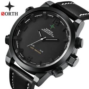 Image 4 - יוקרה מותג צפון מקרית ספורט קוורץ שעון גברים עור אנלוגי אלקטרוני דיגיטלי שעון צבאי שעונים איש Relogio Masculino