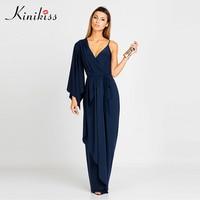 Kinikiss Maxi Summer Dress 2017 Solid Women Blue Asymmetrical Lace Up V Neck Silk Party Dress