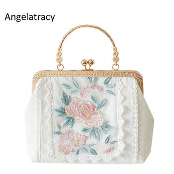 2019 Angelatracy New White Gold Bag Floral Embroidery Japan Lolita Rose Mini Lace Women Handbag Metal Frame Tote Crossbody Bag - DISCOUNT ITEM  15% OFF All Category