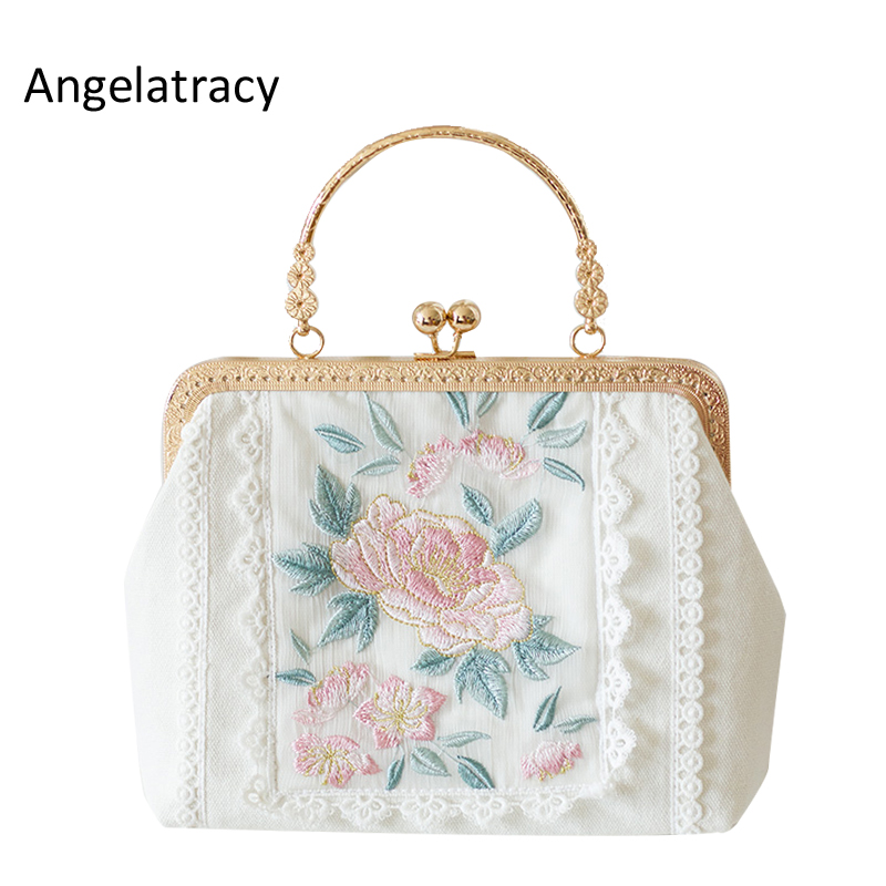 все цены на Angelatracy New White Crossbody Women Bag Floral Embroidery Women Tote Mini Lace Handbag Metal Frame Bag Japan Lolita Rose 2018