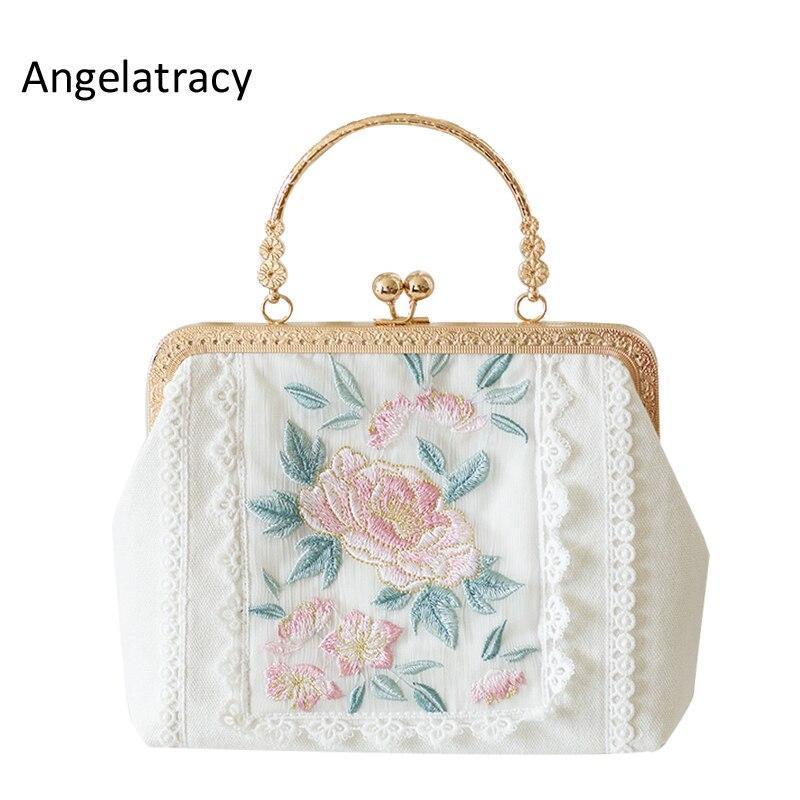 Angelatracy nouveau blanc bandoulière femmes sac Floral broderie femmes fourre-tout Mini dentelle sac à main en métal cadre sac japon Lolita Rose 2018