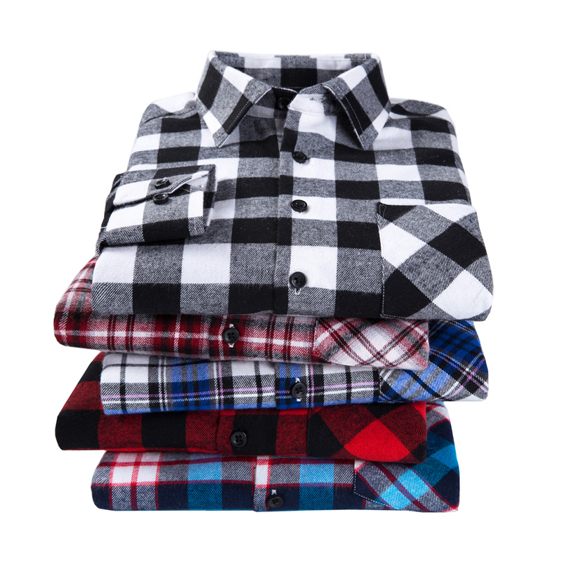 2019  New Men's Plaid Flannel Shirt Plus Size 5XL 6XL Soft Comfortable Spring Male Shirt Business Casual Long-sleeved Shirts