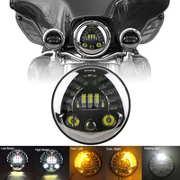 E Mark Number DOT Approved 7 Inch Motorcycle LED Headlight For Harley Hi Lo Beam Assemblies