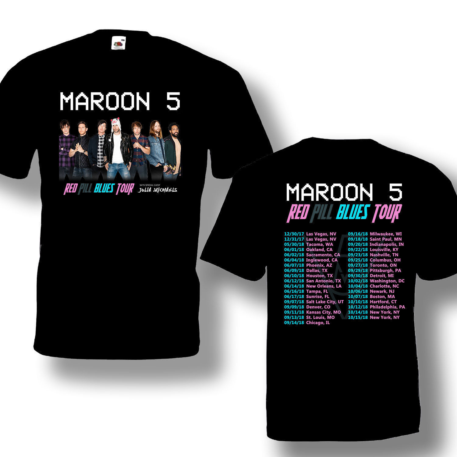 Maroon 5 Tour 2018 T shirt With Tour Date Black T-Shirt Tees Size S-3XL Short Sleeve Discount 100 % Cotton T Shirts