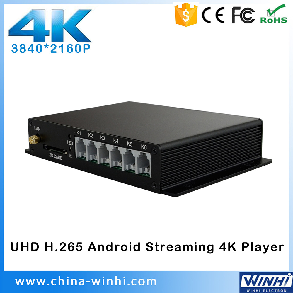 UHD Streaming media player 4k 2160P android tv box digital signage player