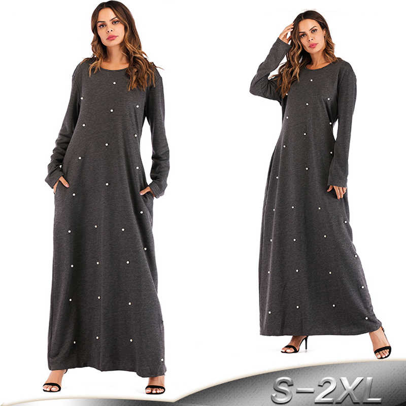f13406472d Abaya Dubai Kaftan Arabic Turkey Islamic Pearls Muslim Hijab Dress Women  Moroccan Bangladesh Robe Marocain Arabe