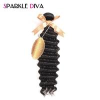 SPARKLE DIVA HAIR Deep Wave Brazilian Hair Weave Bundles 1PC Remy Hair 10 28 Inch