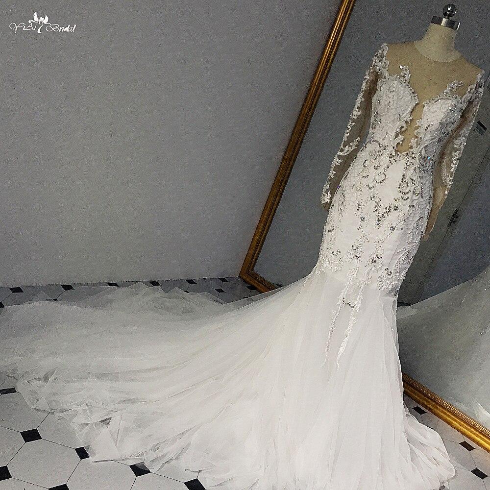RSW1457 Sexy Fotos Reais Do Vestido de Casamento Com Cristais de Luxo E Mangas de Renda Vestido de Casamento Da Sereia