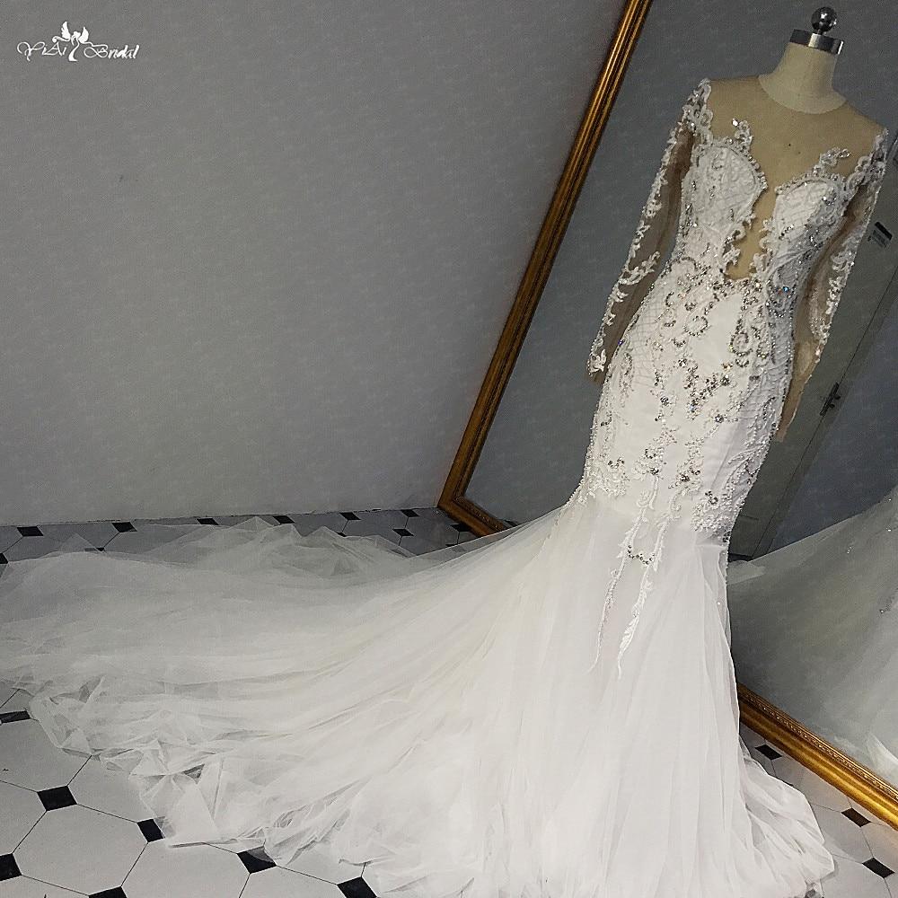 RSW1457 Sexy Real Pictures vestido de novia de lujo con cristales y mangas de encaje vestido de novia sirena