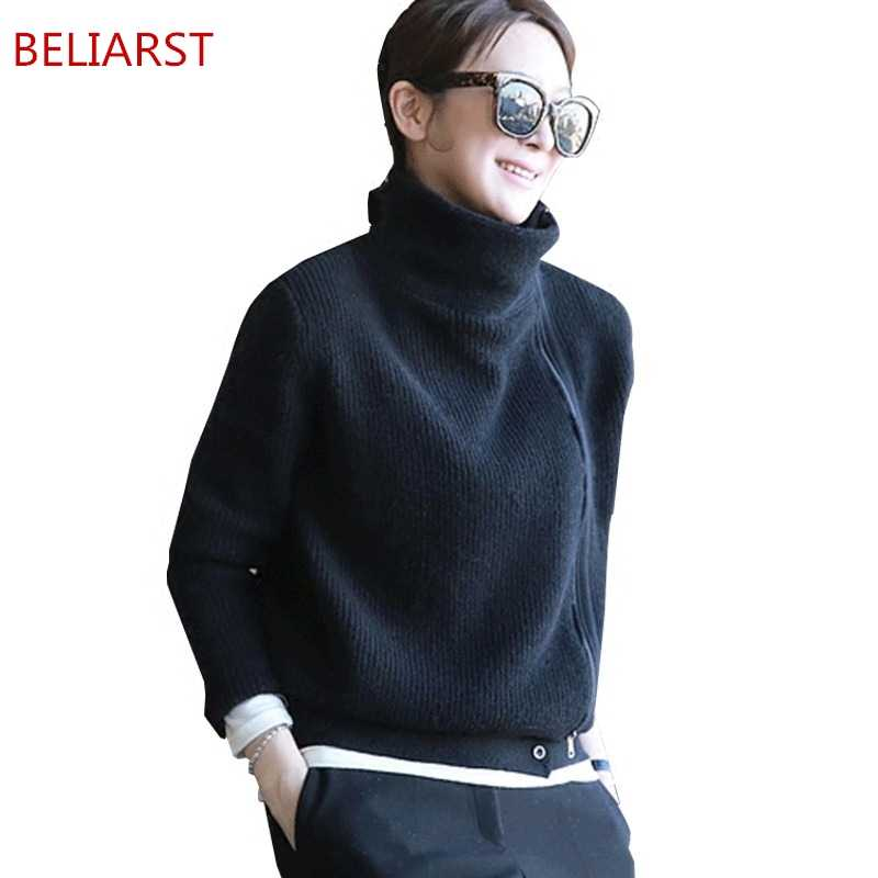BELIARST 18 New Cashmere Sweater Women Short Straight Solid Color Zipper Long Sleeve Sweater Coat Spring High Collar Cardigan