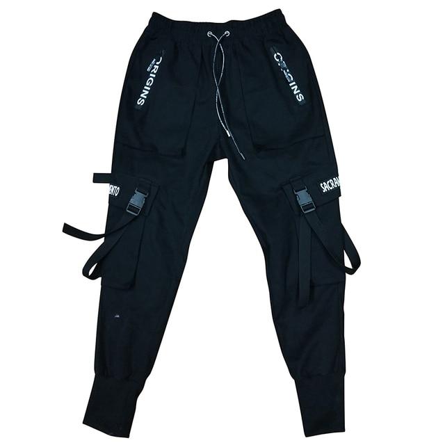 2020 Primavera Hip Hop Jogging Uomo Nero Pantaloni stile harem Multi-tasca Nastri Uomo Pantaloni Della Tuta Streetwear casual Mens Pantaloni M-3XL 5