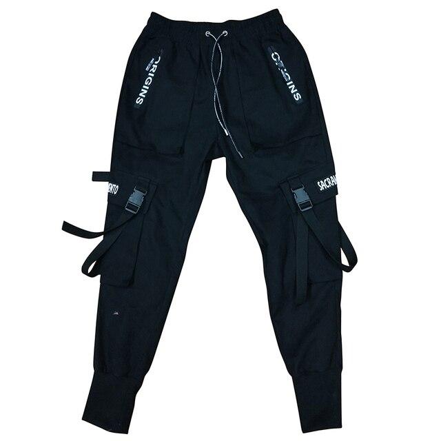 2020 Spring Hip Hop Joggers Men Black Harem Pants Multi-pocket Ribbons Man Sweatpants Streetwear Casual Mens Pants M-3XL 5