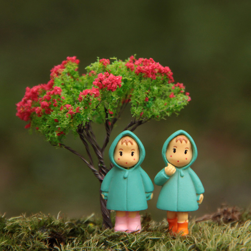 3pcs/lot Studio Ghibli Toy My Neighbor Totoro Raincoat Mei May Tree PVC Action Figure Toys Micro Landscape for Garden Ornaments