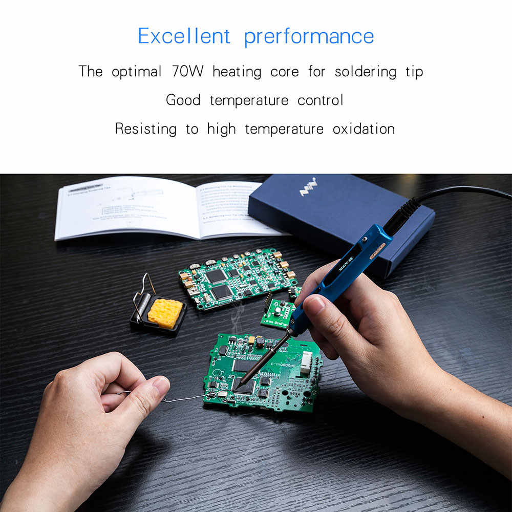 65W TS100 Mini Programmable Digital Electric Soldering Iron Station Kit  Temperature Adjustable 9pcs Tips Stand Aluminum Tool Box