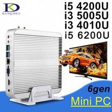 В наличии! Без вентилятора Mini PC Настольный компьютер Intel i5 4200U i3 5005U Dual Core ПК 4 К HTPC HDMI VGA 4 * USB3.0 300 м WI-FI TV Box DHL