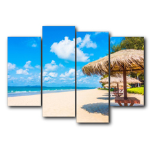 цена 4 Panel Vintage Canvas Painting Tropical Scenery Posters and Prints Wall Artwork Living Room Bedroom Wedding онлайн в 2017 году