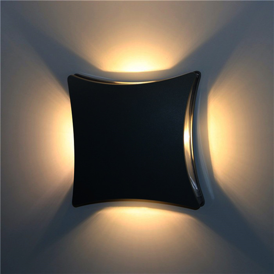 Thrisdar 12W Outdoor LED Porch Wall Light Four Sided Waterproof Wall Light Garden Balcony Villa Aisle