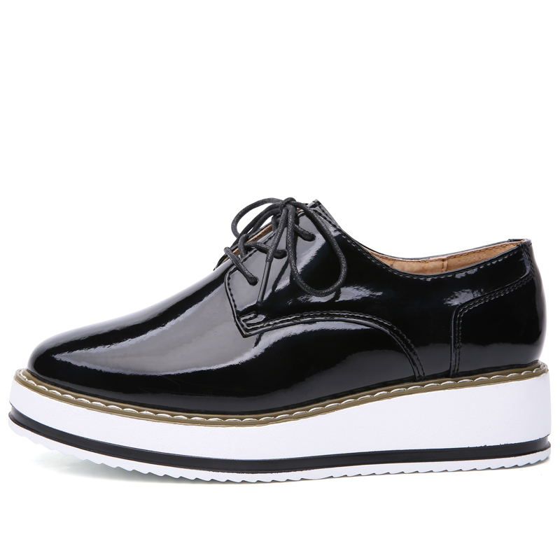 LAISUMK Spring Leather Women Flat platform Shoes Brogue Vintage Shoes For Women Leather Female Derbies Footwear chaussures femme in Women 39 s Flats from Shoes