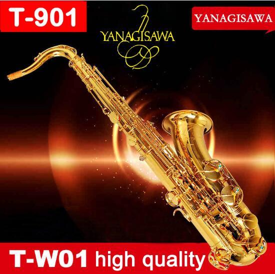 YANAGISAWA T-991 T-WO10 Tenor saxofón oro laca B Flat Bb tubo de latón Sax instrumentos de la marca con el caso, guantes para los estudiantes
