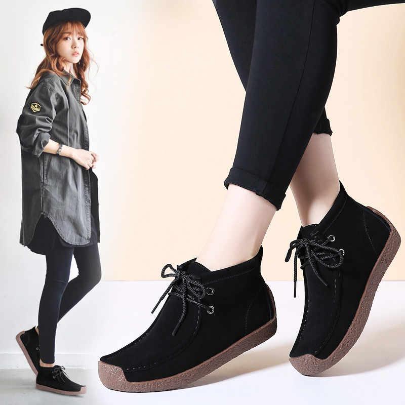 PINSEN 2020 yeni kadın botları deri süet dantel-up kar botları kadın kış sıcak peluş kürk yarım çizmeler için botas Mujer