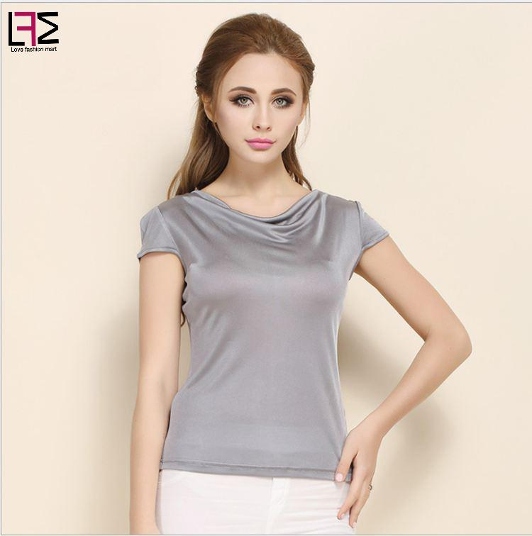 free shipping 2017 sexy solid color silk t shirt women 39 s