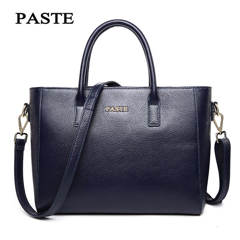 PASTE Classic Simple Fashion designer women leather handbags OL women Genuine Leather bag Elegant shoulder Messenger bags 247 classic leather