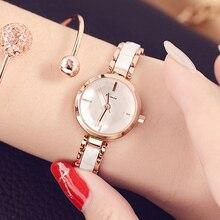 Kimio المرأة كوارتز ساعة متعدد قص سطح المرآة مقلد حزام السيدات اللباس اسوارة الأعلى العلامة التجارية ووتش السيراميك