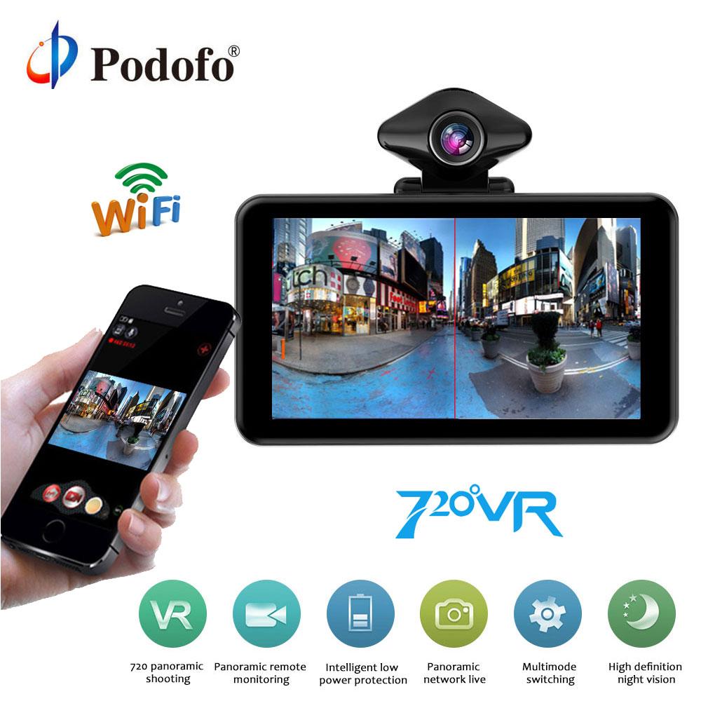 Podofo 720 градусов камеры VR WI FI 360 панорама 5 ''Автомобильный регистратор 1080FHD ips Экран Автоспуск записи камеры видеорегистратор ночь версия