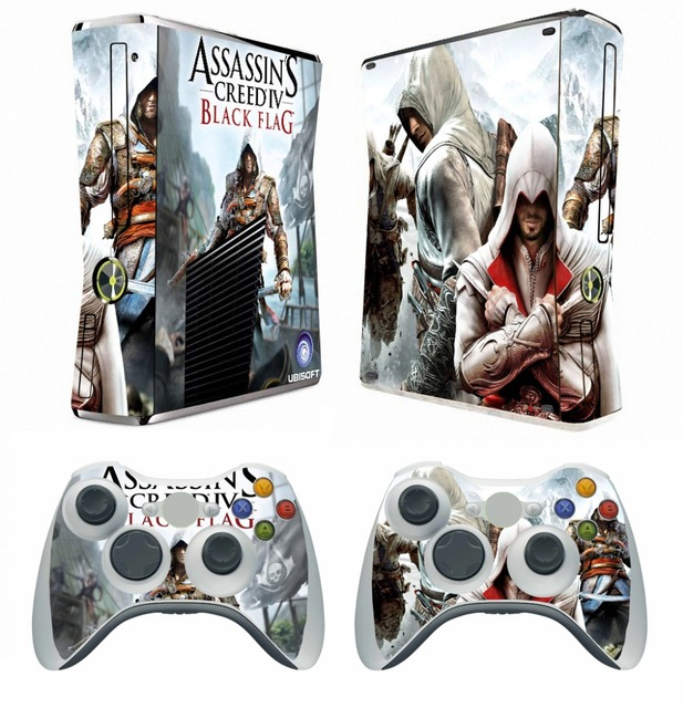 270 assassins creed 4 vinyl skin sticker protector for microsoft xbox 360 slim and 2 controller
