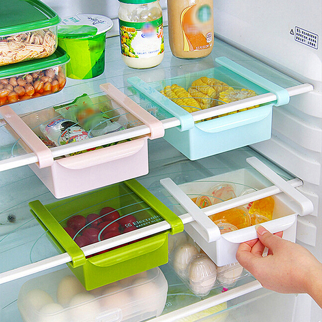1pcs Slide Kitchen Fridge Freezer E Saver Organizer Refrigerator Storage Rack Shelf Holder Drawer Free Shipping