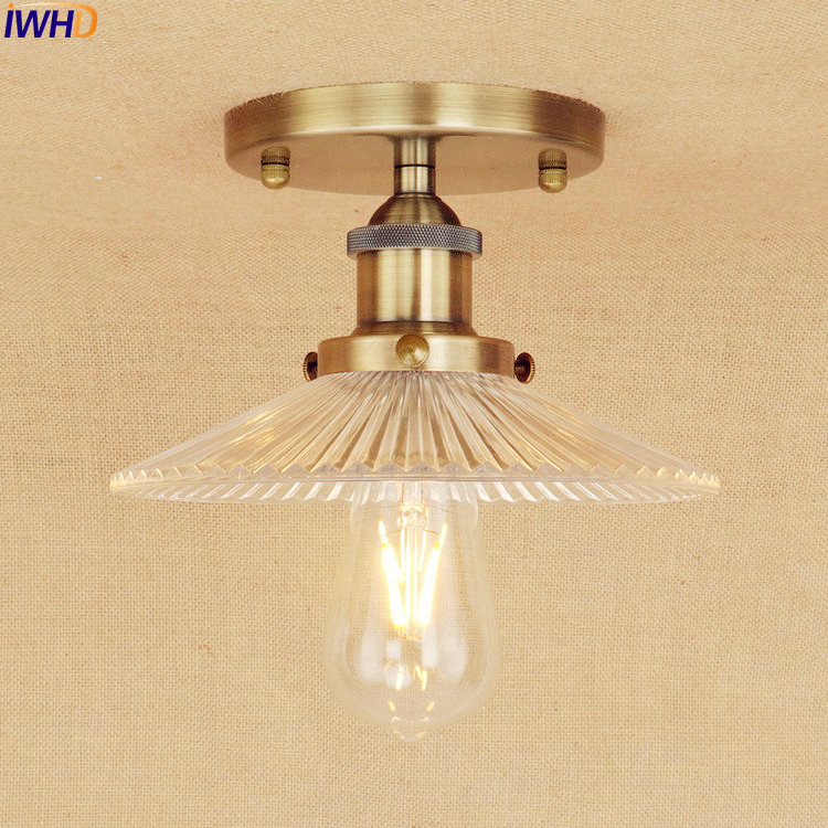 IWHD Glass LED Ceiling Lamp Bedroom Living Room Lights Plafondlamp Brass Color Vintage Industrial Ceiling Light Luminaria