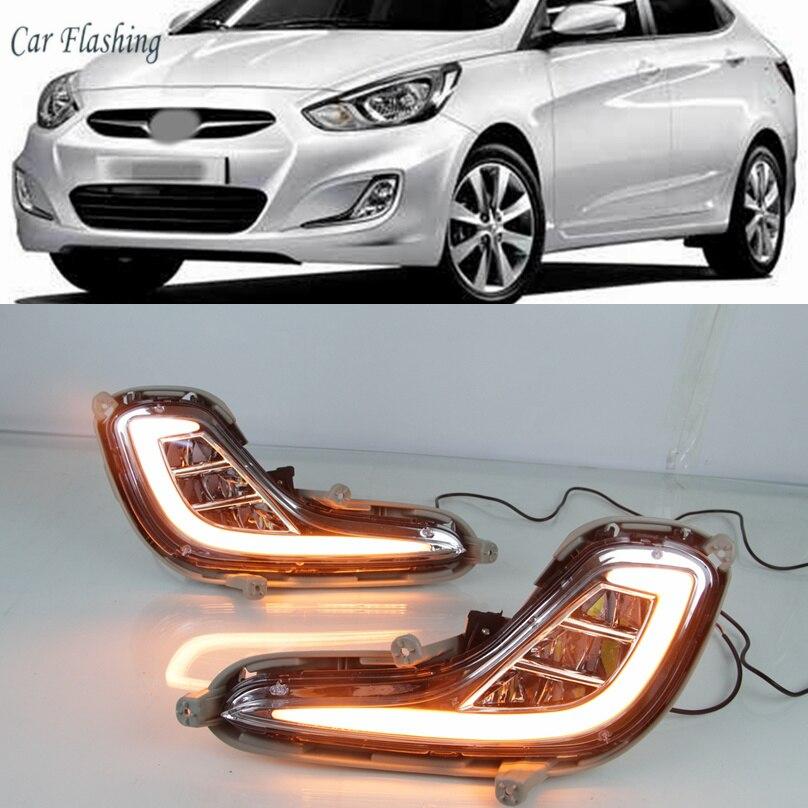 Car Flashing LED Daytime Running Light Fog Light DRL signal Lamp 2 pcs For Hyundai Accent